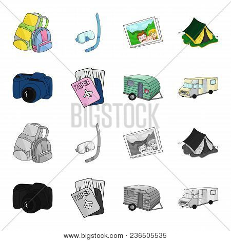 Vacation, Photo, Camera, Passport .family Holiday Set Collection Icons In Cartoon, Monochrome Style