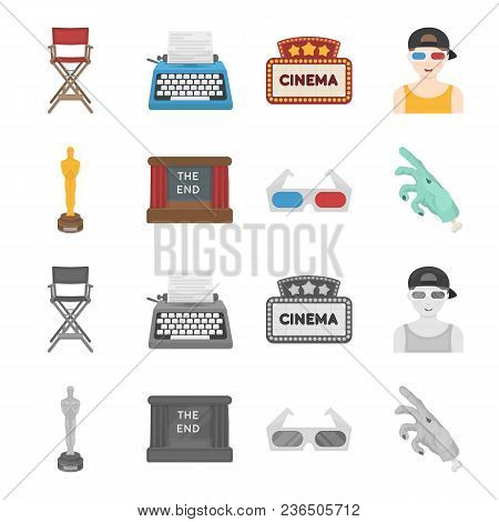 Award Oscar, Movie Screen, 3d Glasses. Films And Film Set Collection Icons In Cartoon, Monochrome St