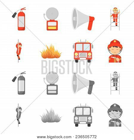 Fireman, Flame, Fire Truck. Fire Departmentset Set Collection Icons In Cartoon, Monochrome Style Vec