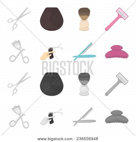 Scissors, Brush, Razor And Other Equipment. Hairdresser Set Collection Icons In Cartoon, Monochrome