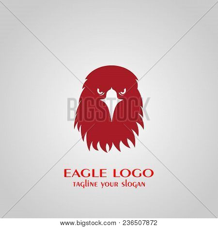 Eagle Logo, Eagle Head Icon With Red Color, Vector Illustrations.