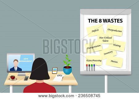 Woman Is Educating In Eight Wastes Lean Management By A Man Communicating With Her From A Pc Monitor