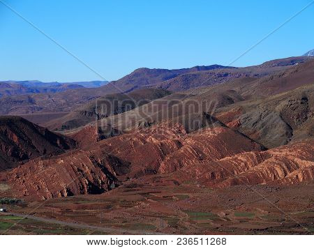 Colorful High Atlas Mountains Range Landscapes In Morocco, From Location Near Tizi-n-tichka Pass In