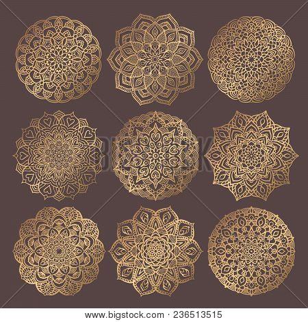 Mandala Vector Design Element. Golden Round Ornaments. Decorative Flower Pattern. Stylized Floral Ch