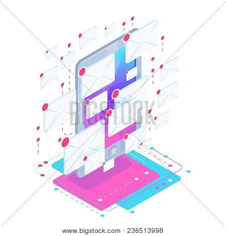 Spam. Isometric Concept With A Mobile Phone Full Of New Messages. Metaphor Of Aggressive Advertising