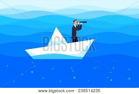 Investor. Businessman With A Telescope Floating In The Sea On A Paper Boat. Template Design Banner.