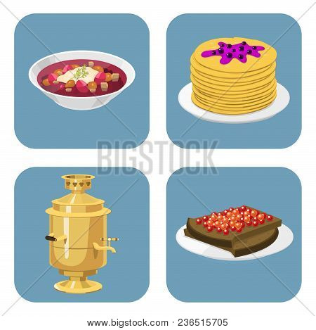 Traditional Russian Cuisine And Culture Dish Course Food Welcome To Russia Gourmet National Meal Vec