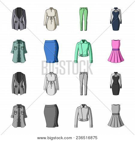 Women Clothing Cartoon, Monochrome Icons In Set Collection For Design.clothing Varieties And Accesso
