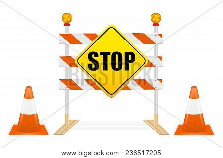 Stop Sign On Road Block Tools Vector