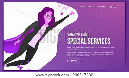 Web Page Design Vector. Business Graphic. Responsive Banner Interface. Cartoon Team. Futuristic Stra