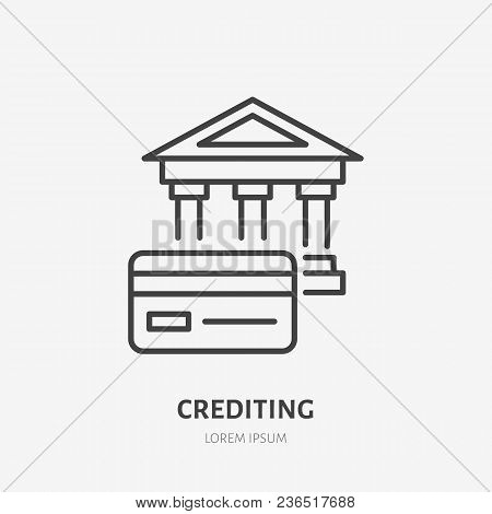 Credit Card With Bank Flat Line Icon. Banking Sign. Thin Linear Logo For Legal Financial Services, A