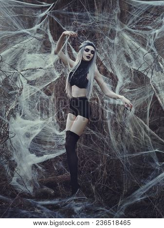 Beautiful Sexy Gothic Girl With Pale Skin And Long White Hair Like Spider Black Widow In Spider Web.
