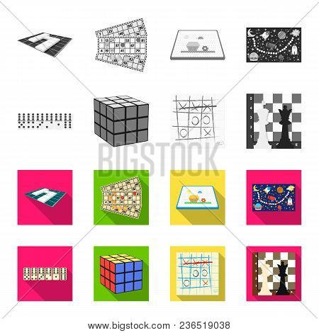 Board Game Monochrome, Flat Icons In Set Collection For Design. Game And Entertainment Vector Symbol