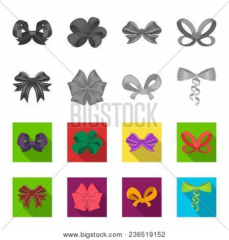 Multicolored Bows Cartoon, Black, Flat, Outline Icons In Set Collection For Design.bow For Decoratio