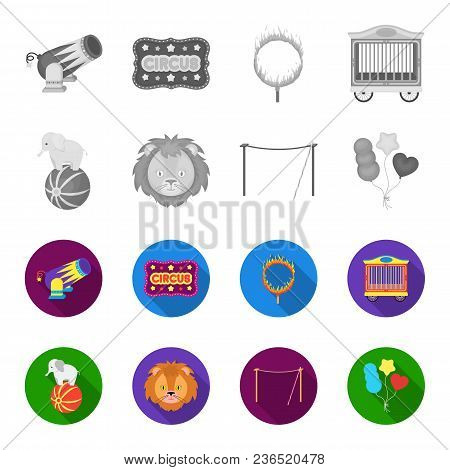 Elephant On The Ball, Circus Lion, Crossbeam, Balls.circus Set Collection Icons In Monochrome, Flat