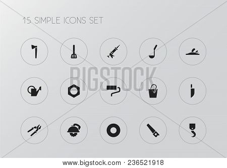 Set Of 15 Editable Tools Icons. Includes Symbols Such As Soup Ladle, Handsaw, Saw Blade. Can Be Used
