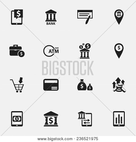 Set Of 16 Editable Banking Icons. Includes Symbols Such As Dollar, Automatic Teller Machine, Coins A
