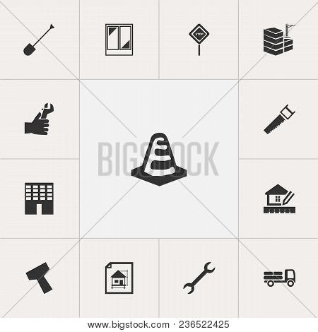 Set Of 13 Editable Building Icons. Includes Symbols Such As Building, Warning Cone, Bogie And More.
