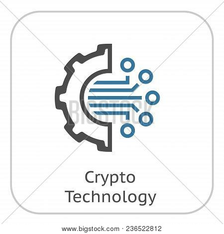 Crypto Technology Icon. Modern Computer Network Technology Sign. Digital Graphic Symbol. Gear With B