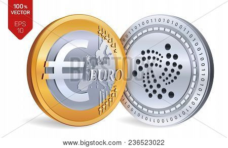 Iota. Euro. 3d Isometric Physical Coins. Digital Currency. Cryptocurrency. Golden And Silver Coins W