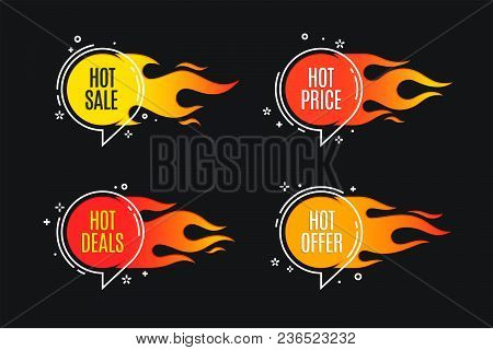 Flat Linear Promotion Fire Banner, Price Tag, Hot Sale, Offer, Price. Vector Illustration Set