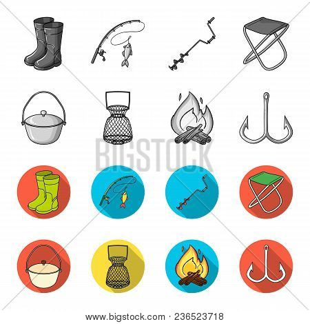 Catch, Hook, Mesh, Caster .fishing Set Collection Icons In Monochrome, Flat Style Vector Symbol Stoc
