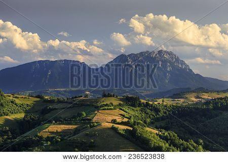 Amazing Colorful Sunset With Spectacular Summer Landscape, Holbav, Transylvania, Romania, Europe