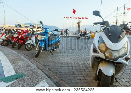 Marmaris, Turkey - September 19, 2017:a Lot Of Scooters Are Parked In The Center Of Marmaris