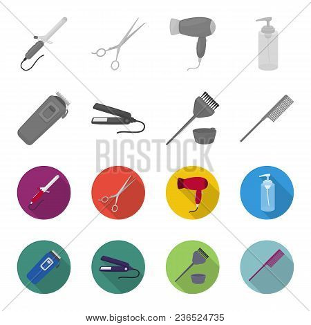 Trim, Hair Coloring, Comb, Straightener. Hairdresser Set Collection Icons In Monochrome, Flat Style