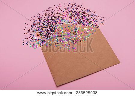 Craft Envelope On A Pink Background