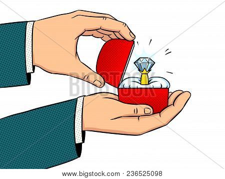 Hands With Precious Diamond Ring Pop Art Retro Vector Illustration. Marriage Proposal Metaphor. Isol