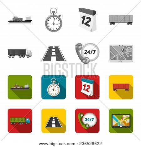 Round The Clock, Road, Truck, Jps.loqistic, Set Collection Icons In Monochrome, Flat Style Vector Sy