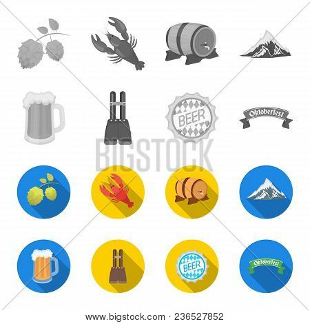 Shorts With Suspenders, A Glass Of Beer, A Sign, An Emblem. Oktoberfest Set Collection Icons In Mono