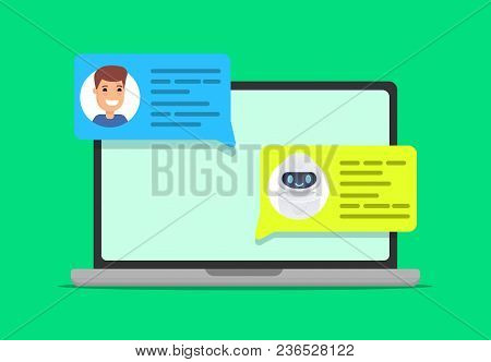 Man Chatting With Chat Bot On Laptop. Asking Question, Getting Solution. Concept Illustration. Vecto