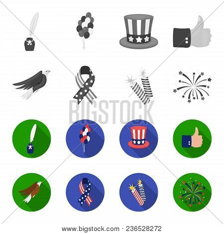 American Eagle, Ribbon, Salute. The Patriot Day Set Collection Icons In Monochrome, Flat Style Vecto