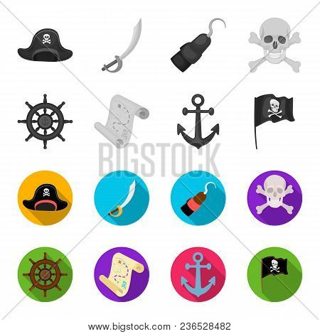 Pirate, Bandit, Rudder, Flag .pirates Set Collection Icons In Monochrome, Flat Style Vector Symbol S