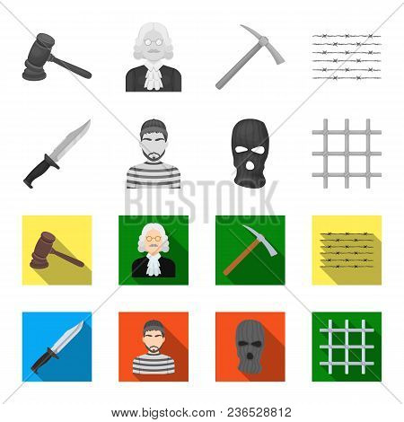 Knife, Prisoner, Mask On Face, Steel Grille. Prison Set Collection Icons In Monochrome, Flat Style V