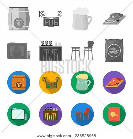 Tv, Bar Counter, Chairs And Armchairs, Potato Chips.pub Set Collection Icons In Monochrome, Flat Sty