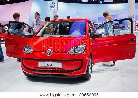 FRANKFURT - SEP 17: Volkswagen up! car shown at the 64th Internationale Automobil Ausstellung (IAA) on September 17, 2011 in Frankfurt, Germany.