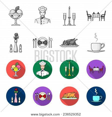 Vase With A Flower, Table Setting, Fried Chicken With Garnish, A Cup Of Coffee.restaurant Set Collec