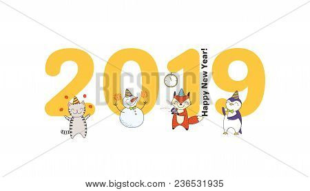 Hand Drawn New Year 2019 Greeting Card, Banner Template With Big Numbers, Cute Funny Cartoon Animals