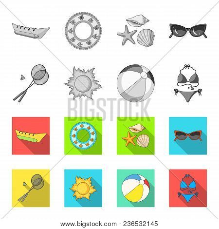 A Game Of Badminton, A Ball And The Sun.summer Vacation Set Collection Icons In Monochrome, Flat Sty