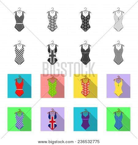 Different Kinds Of Swimsuits. Swimsuits Set Collection Icons In Monochrome, Flat Style Vector Symbol