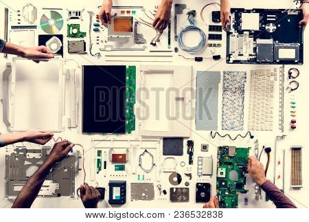 Aerial view of computer parts