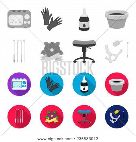 Chair On Rollers, Needles For Tattoo And Other Equipment. Tattoo Set Collection Icons In Monochrome,
