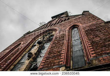Looking Up Towards The Windows Of The Derelict Church Of St Josephs