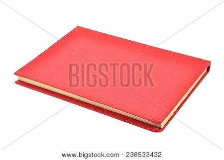 Red Hardcover Book, Isolated On White Background