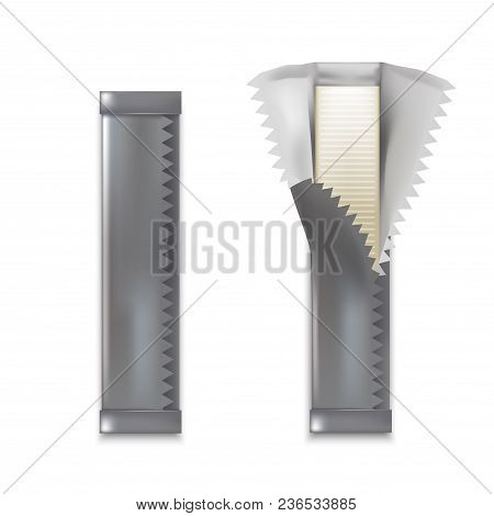 Realistic Detailed 3d Chewing Gum Sticks Set Wrapped And Opened Packaging View. Vector Illustration