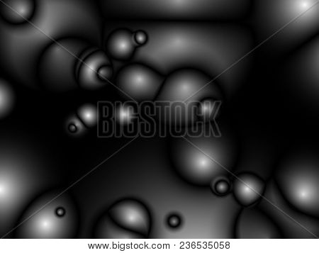 Black Abstract Futuristic Glossy Background With Fabric, Silk Texture And Ambient Occlusion Effect F