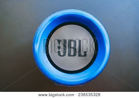 Bishkek, Kyrgyzstan - February 24, 2018: Jbl Logo On A Blue Bluetooth Speaker With Textile And Metal